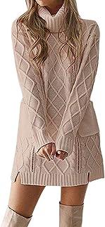 Vestido de Mujer, Dragon868 Las Mujeres de Invierno de Punto Cuello Alto Vestido de suéter de Bolsillo