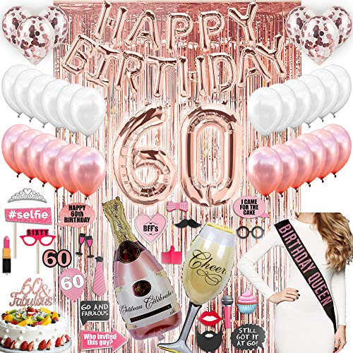 60th Birthday Decorations With Photo Props, 60 Birthday Party Supplies, 60 Cake Topper, Rose Gold Happy Bday Banner, Rose Gold Confetti Balloons For Her, Rose Gold Curtain Backdrop 60th Bday