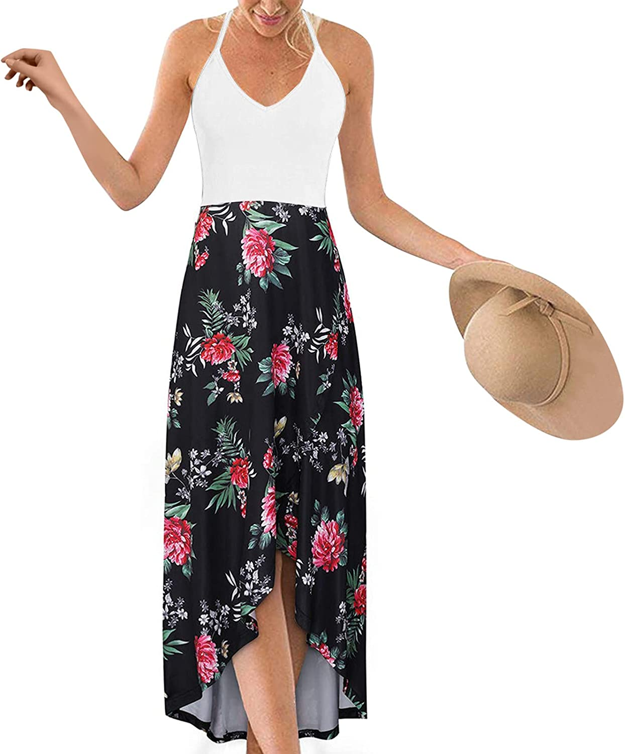 ORT Dresses for Women, Women's Summer Strappy V Neck Floral Printed Casual Maxi Dresses Sleeveless Cami Dress Beach Sundress