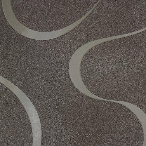 Tapete Schwarz Silber Gestreift - Glitzer - Linien, Geschwungen, Edel- Ideal für Wohnzimmer - Colani Visions - Made in Germany - 10,05m X 0,70m - 53335