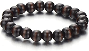 Prayer Mala COOLSTEELANDBEYOND Homme Femme Bracelet de 10MM Mat Noir Onyx Perles AVCE Charm Mauvais Oeil Protection