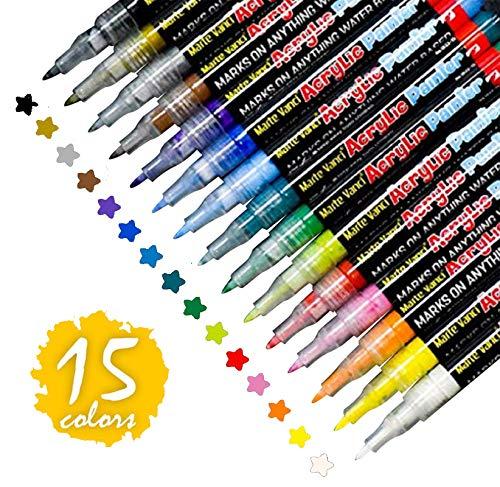 Steine Bemalen Stifte Set,15 Farben Acrylstifte Wasserfest Permanent Paint Markers,Kinder DIY Stift Art für Stein, Rock-Malerei, Keramik, Porzellan, Metall, Kunststoff.