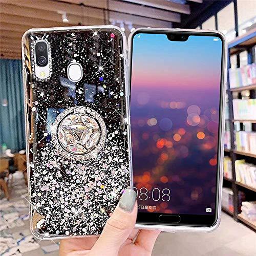 Coque pour Samsung Galaxy A20,Galaxy A30 Coque Transparent Glitter avec Support Bague,étoilé Bling Paillettes Motif Silicone Gel TPU Housse de Protection Ultra Mince Clair Souple Case,Noir