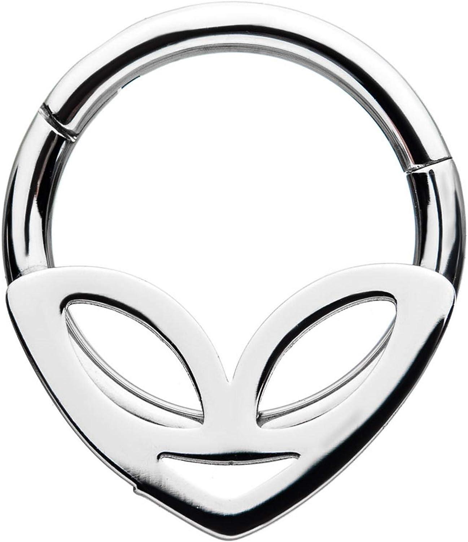 BYB Jewelry Alien Face Steel Hinged Segment Ring Hoop Piercing 18G-14G