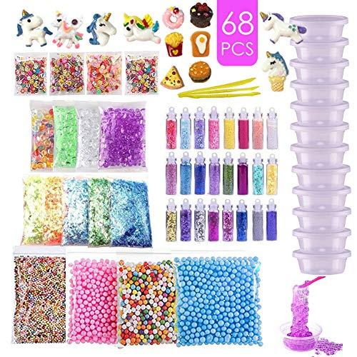 essenson DIY Slime Supplies Kit für Kinder Schleim Selber Machen mit(kein Schleim), Glitter Sheet Jars, Schaumkugeln, Fruchtscheiben, Goldfischglasperlen, Tools und Container