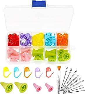 BITEYI 60 Pièces Tricotage Crochet Marqueurs et 20 Pièces 2 tailles Aiguilles à Tricoter Point Protecteurs 9 Pièces 3 tail...