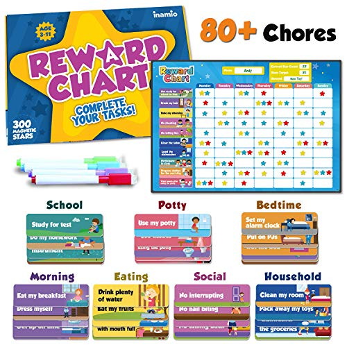 inamio Reward Chart for Kids – 80+ Chores, Chore Chart for Multiple Kids – Magnetic, for Toddlers at Home – Great for Classroom, Potty Training or Behavior Training – Upgraded Version