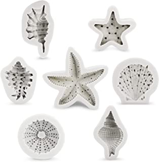 Seashell Silicone Mold 7pcs, Beasea Plus Size Sea Life Molds Starfish Fondant Molds Cake Decorating Mold Seashells Conch Silicone Mold Beach Theme Molds Reusable Chocolate Candy Molds