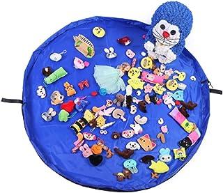 おもちゃ収納バッグ 子どもプレイマット 大容量 ブルー 直径150cm 折り畳み式のベビー玩具収納袋 お片付け簡単 収納用品 ブルー