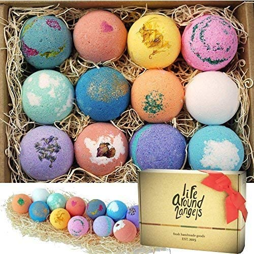 LifeAround2Angels Bath Bombs Gift Set 12 USA made Fizzies, Shea & Coco Butter Dry Skin Moisturize, Perfect for Bubble...