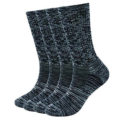 Enerwear 4 Pack Women's Merino Wool Outdoor Hiking Trail Crew Sock (US Shoe Size 4-10,Black/Grey/Multi)
