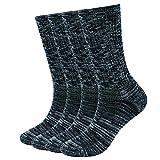 Enerwear-Coolmax 4 Pack Women's Merino Wool Outdoor Hiking Trail Crew Sock (US Shoe Size 4-10,Black/Grey/Multi)