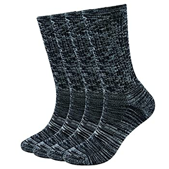 Enerwear-Coolmax 4 Pack Women s Merino Wool Outdoor Hiking Trail Crew Sock  US Shoe Size 4-10,Black/Grey/Multi
