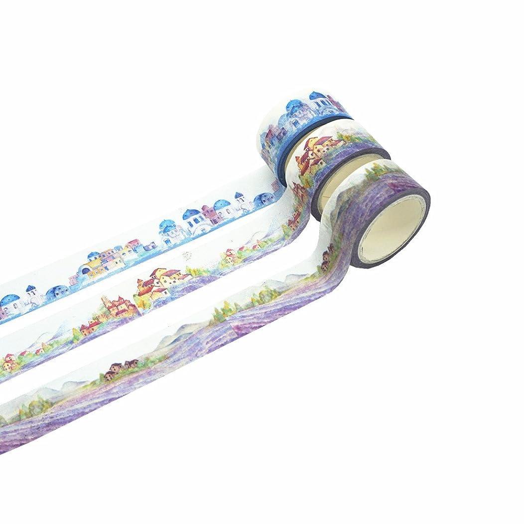 Masking Tape Washi Tape Set for DIY Scrapbooking Embelishment Bullet Journal Diary Planner (Building)