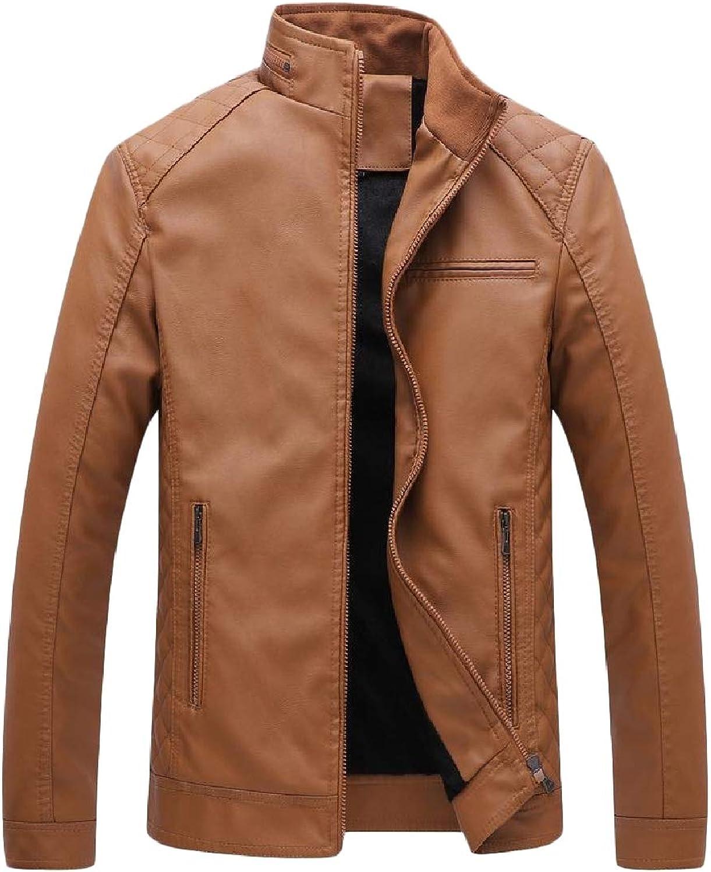 28de411e0 DressU DressU DressU Men's Plus Size Velvet Zips Stand Up Collar Thickened  Pu Leather Jacket bc9946