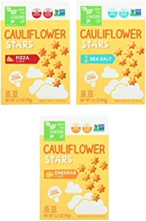 Real Food From the Ground Up Cauliflower Cracker Stars Variety Bundle of Three Flavors: One Box Each of Sea Salt, Pizza and Cheddar (3 Boxes)