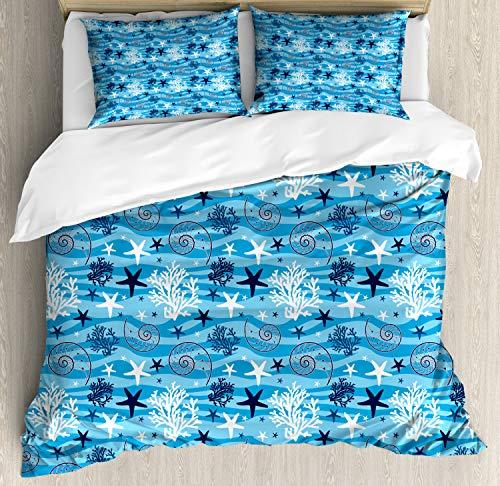 ABAKUHAUS Sea Shells Dekbedovertrekset, Starfish en mantel, decoratieve 3-delige bedset met twee sierslopen, Blauw Donker Blauw Wit
