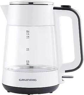 Grundig WK 5860 - Tetera eléctrica (1,7 L, 2400 W, Negro, Blanco, Vidrio, Indicador de nivel de agua, Sin cables)