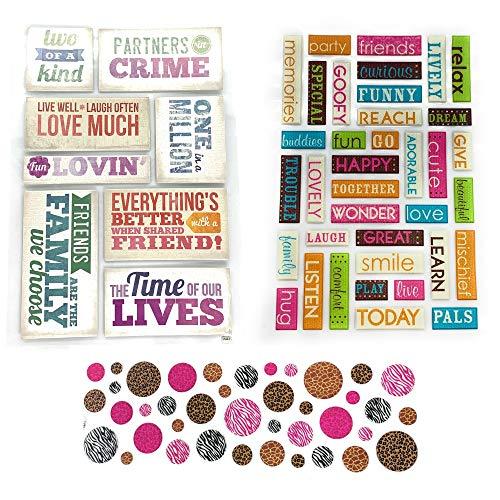 PaperPassion - Love, Friendship & Memories Scrapbook Kit | Scrapbook Stickers & Planner Stickers - Phrases & Dots | Scrapbooking Bundle 85 Pieces!