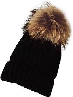 YANG-YI 2017 Women Hats Winter Crochet Hat Knit Beanie Raccoon Warm Cap (Black, one Size)