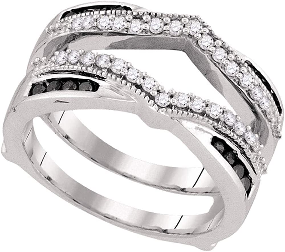 10kt White Gold Womens Round Black Color Enhanced Diamond Wrap Ring Guard Enhancer 1/2 Cttw