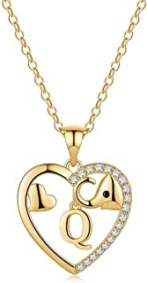 M MOOHAM Gold Initial Elephant Necklace for Women, 14K Gold Plated CZ Elephant Necklaces for Women Girl Friendship Necklac...