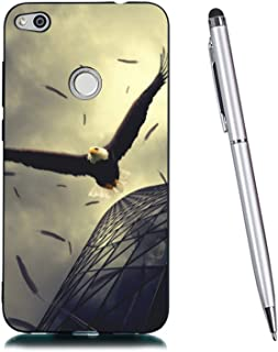 Lucifa Case for Huawei P8 Lite 2017, Flexible Protective Case Cute Pattern Premium Gel Soft Silicone TPU Shockproof Back Bumper Ulrta Thin Anti-Scratch Case (Eagle)