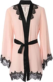 Women's Sexy Mesh Kimono Lingerie Lace Nightgown Robe Set (US XS-L)