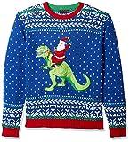 Blizzard Bay Men's Ugly Christmas Sweater Dinosaur, Blue, Large