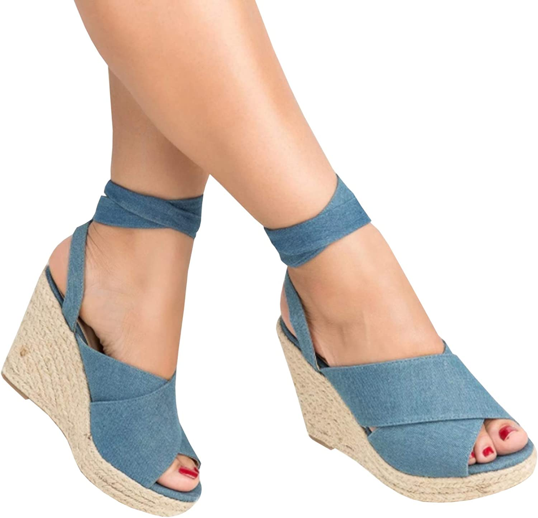 Meilidress Womens Espadrille Wedge Heeled Peep Toe Dress Sandals Platform Ankle Tie Up Strap Summer shoes