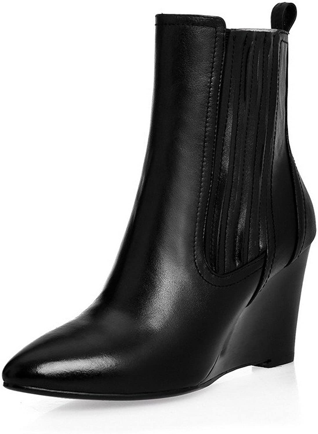 AmoonyFashion Women's Pointed-Toe Closed-Toe High-Heels Boots with British Style