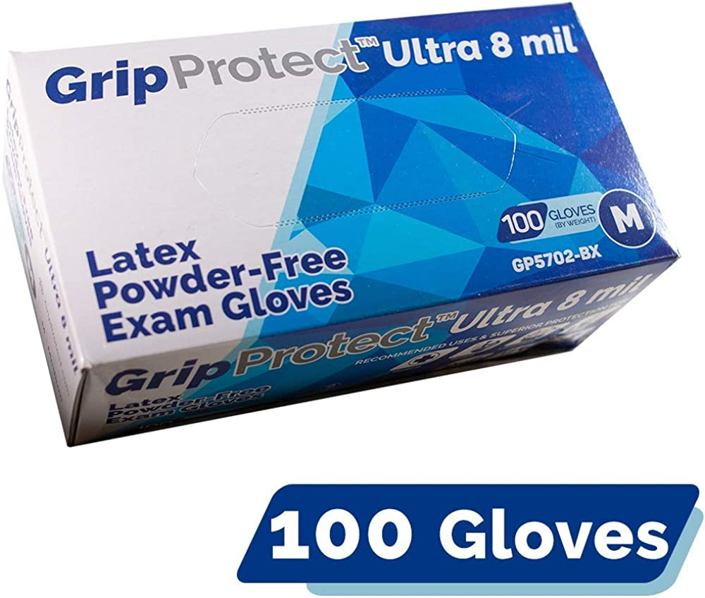 GripProtect Ultra 8 Mil Latex Gloves Large special price Disposable Medical Sacramento Mall Exam