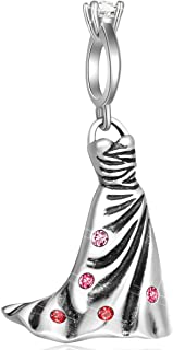 Wedding Ring Dangle Wedding Dress Charms fits Pandora Bracelet – 925 Sterling Silver Evening Gown Necklace Pendant with Pink Crystals, Bridal Gifts Married Beads for Anniversary /Valentines Day /Party