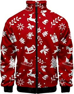 WAWNI Christmas Jackets Men/Women 3D Print Pilot Stand Collar Zipper Raglan Bomber Jacket Fashion Hip Hop Streetwear Coats