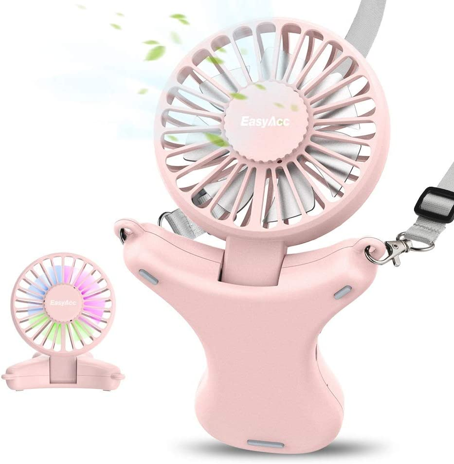 Necklace Fan, EasyAcc Hand Free Fan 3350mAh Rechargeable Battery Fan 3 Speed 3-17 Hours Adjustable 100° Angle Personal Fan Built-in Night Light USB Fan Cooling Fan for Camping Outdoors Travel - Pink