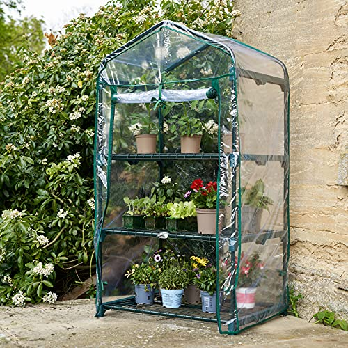 SA Products Mini Greenhouse - Heavy-Duty Portable Growhouse - Gardening Stand for Plants, Flowers, Herbs with Frame & Plastic Cover - Garden Equipment for Indoor & Outdoor Use - 3-Tier Small Shelves