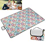 Picnic & Outdoor Blanket Waterproof Sandproof, Moclever Durable Oxford Folding Large Picnic Mat for Camping,Park,Beach,Hiking,Family, Green Floral (Green Floral)