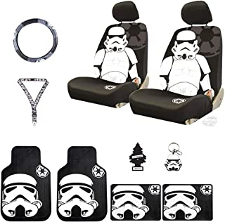Yupbizauto New 12 Pieces Star Wars Stormtrooper Car Truck SUV Seat Covers Floor Mat Set with Air Freshener