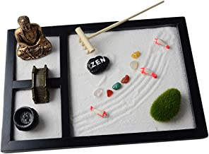 Prettyia Zen Garden Buddha Statue Rake Sand Bridge Rock Incense Holder Relaxation New