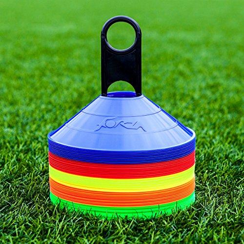 FORZA Markierungshütchen (50 Stück) – Multi-Sportarten Training Markierungsteller und Halter (Rosa)
