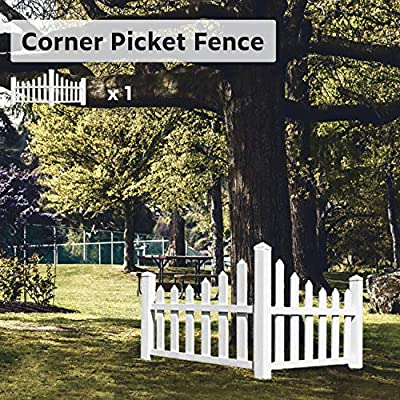 """ECOOPTS 38"""" X 95"""" Vinyl Corner Picket Enclosure Fence Panel Screen Level Top England Country Essentials Scalloped Accent Fencing for Yard, Gardens, Outdoor Products, White 1 Pic"""