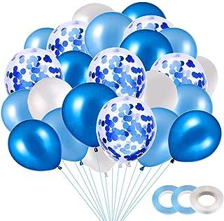 Ballon Confettis Bleu, 40 Pièces Bleu Ballons pour Mariage, Anniversaire, Baby Shower, Diplôme,Cérémonie Décorations de Fê...