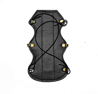 Windfulogo Short Cow Leather Archery Arm Guard Protector Brace Hunting Shooting Black