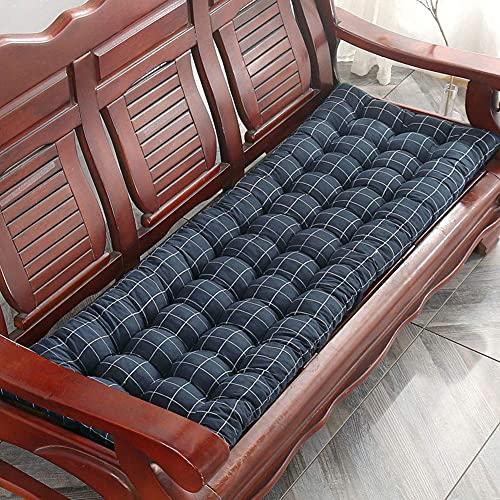 E11 Cojín de banco largo suave y grueso, cojín de asiento para silla de jardín al aire libre con lazos, 2 3 plazas de metal o madera colchoneta, colchón reclinable rectangular