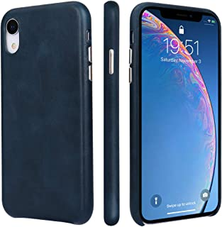TOOVREN iPhone Xr Case Leather Genuine iPhoneXR LeatherCase Ultra Slim Protective Shock-Resistant Vintage Shell Hard Back Cover for Apple iPhone Xr 6.1 inch 2018
