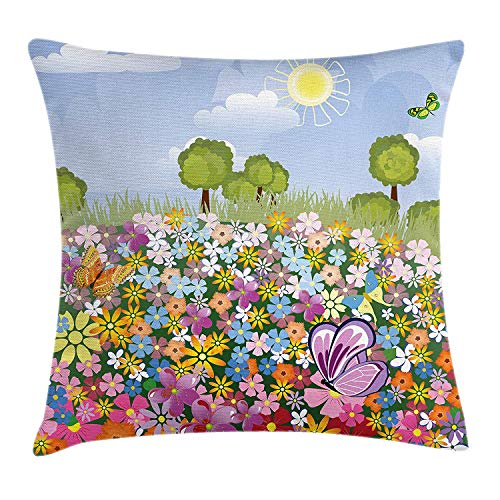FAFANI Nursery Throw Pillow Cushion Cover, Flourishing Spring Meadow with Colorful Blossoms Butterflies Trees Growth Foliage, Decorative Square Accent Pillow Case, 18 X 18 inches, Multicolor