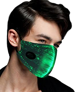 Rave Mask with 7 Color Luminous Light Up Face Mask for Men Women Party Christmas Halloween Costume Mask