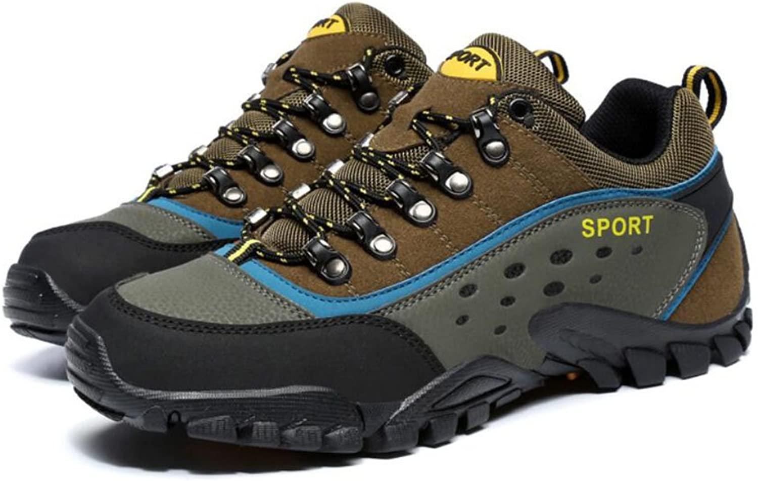 Male Female Hiking shoes Tulle Suede Winter Fall Climbing shoes Buckle Split Joint Lace-up For Outdoor Exercise Mountaineer Sneakers (color   003, Size   44)