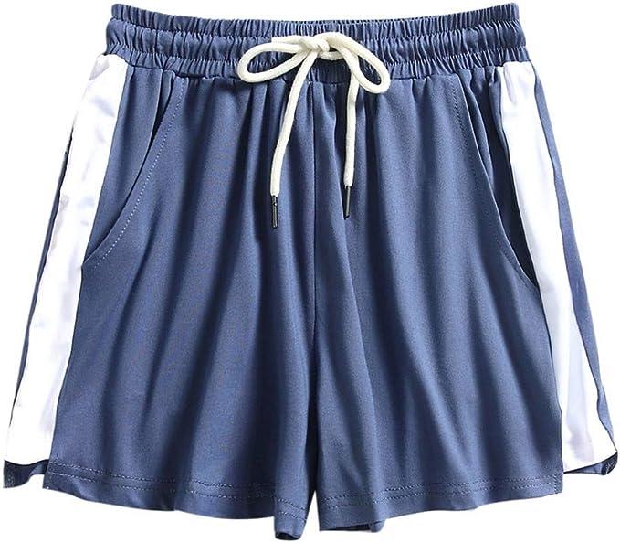 2XL, Grau#1 HCFKJ High Waist Shorts f/ür Damen Teenager M/ädchen Sommer f/ür M/ädchen Frauen Tasche Lose Hot Pants Retro-Streifen Casual Fit elastische Taille Tasche Shorts