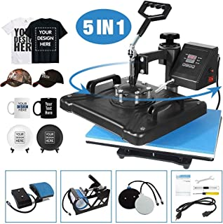 Aonesy Pro 5 in 1 Combo Heat Press Machine for T-Shirt Hat Cap Mug Plate, Multifunctional Swing Away 360-degree Rotation Digital Heat Transfer Sublimation Machine, 12 x 15 Inch